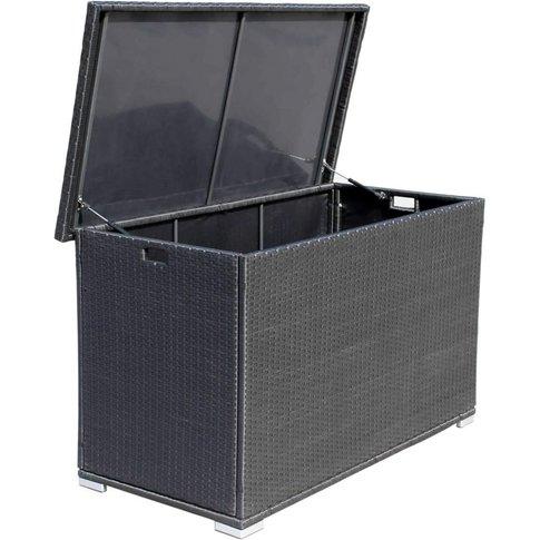 Outdoor Rattan Garden Storage Box In Black