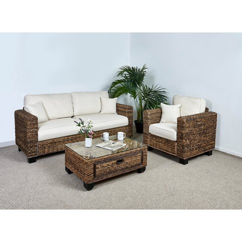Rattan Conservatory 3 Seater Sofa Set In Oatmeal - K...