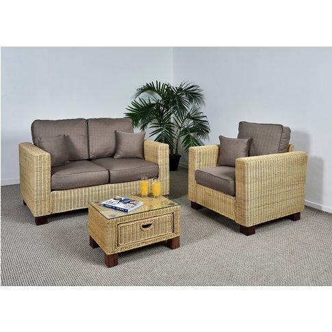 Wicker Conservatory 2 Seat Medium Sofa Set - Sofa, A...