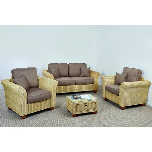 Kingston 2 Seat Large Wicker Sofa Set In Autumn Bisc...