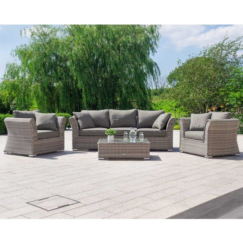 3 Seat Rattan Garden Sofa Set In Grey - Lisbon