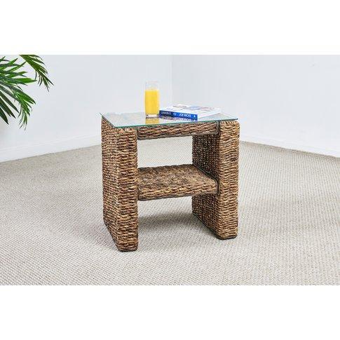 Abaca Rattan Side Table With Shelf