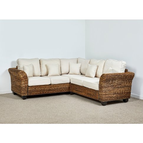 Rattan Conservatory Corner Sofa In Oatmeal - Kingsto...