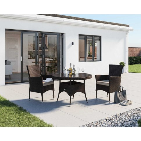 2 Seat Rattan Garden Dining Set With Small Round Din...