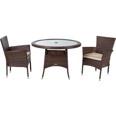 Cambridge 2 Rattan Garden Chairs And Small Round Din...