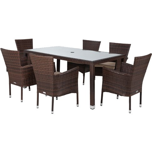 6 Seat Rattan Garden Dining Set With Open Leg Rectan...