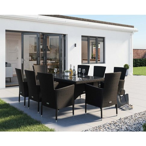 8 Seater Rattan Garden Dining Set With Rectangular D...