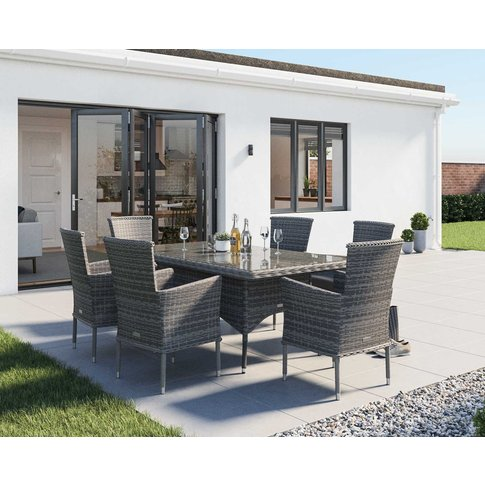 6 Seat Rattan Dining Set With Rectangular Dining Tab...