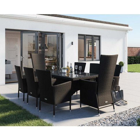 Rectangular Rattan Garden Dining Table Set With 8 Ch...