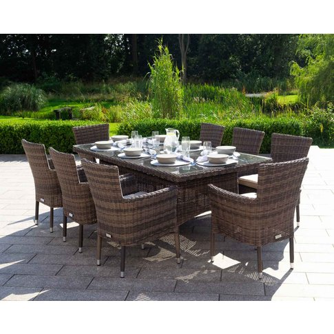 Rectangular Rattan Garden Dining Table & 8 Stackable Chairs In Brown & Champagne - Cambridge