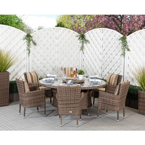 6 Seat Rattan Garden Dining Set With Large Round Din...