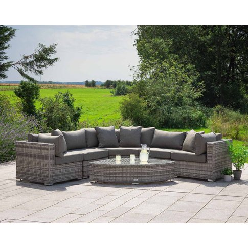 Rattan Garden Corner Sofa Set In Grey - 6 Piece Angl...