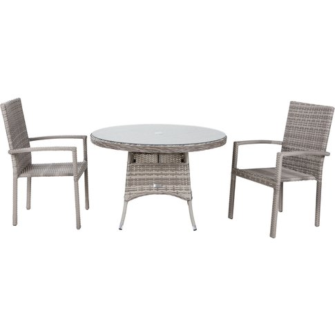 Small Round Rattan Garden Dining Table & 2 Stackable...