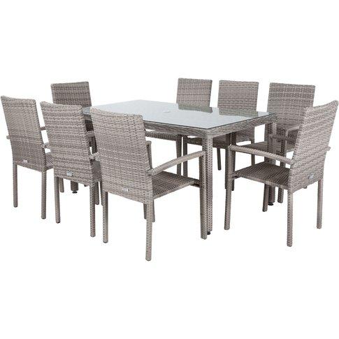 8 Seat Rattan Garden Dining Set With Rectangular Open Leg Dining Table In Grey - Rio