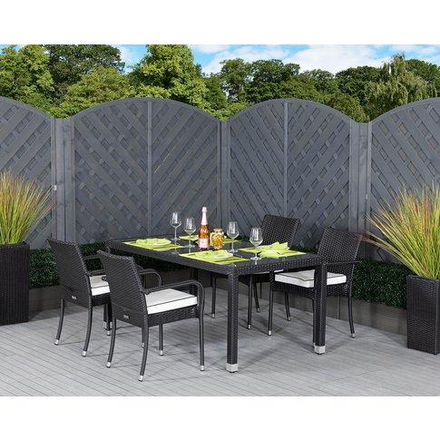 4 Rattan Garden Chairs & Open Leg Rectangular Table ...