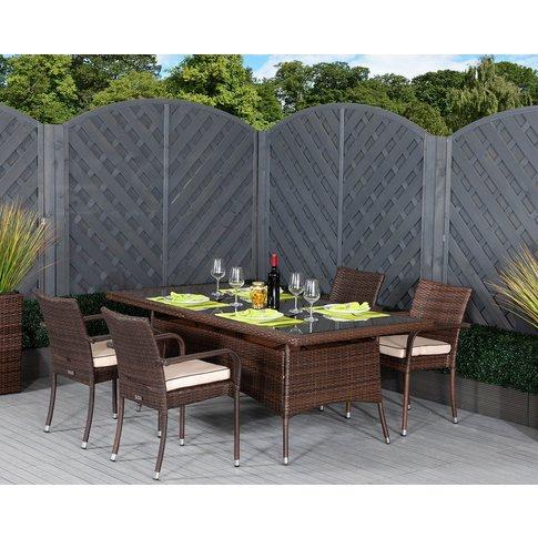 4 Rattan Garden Chairs & Rectangular Dining Table Se...