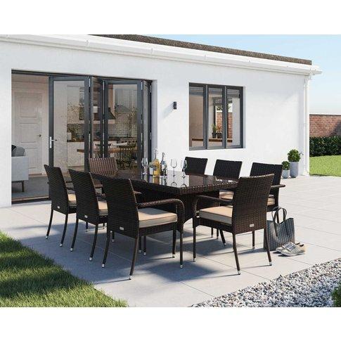 8 Rattan Garden Chairs & Rectangular Dining Table Se...
