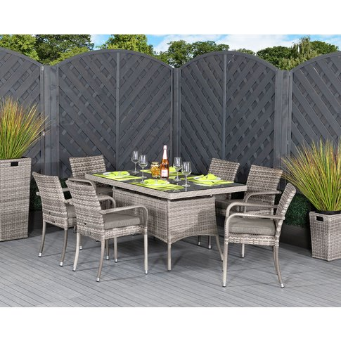 6 Sat Rattan Garden Dining Set With Small Rectangula...