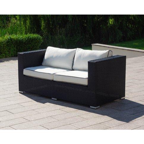 2 Seat Rattan Garden Sofa In Black & White - Ascot