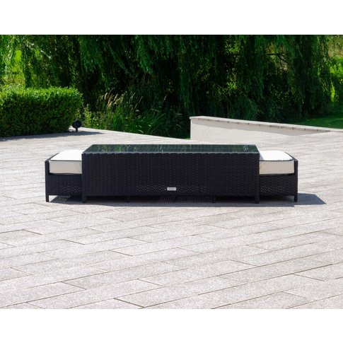 Rattan Garden Coffee Table With 2 Footstools In Blac...