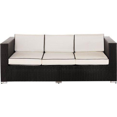 3 Seat Rattan Garden Sofa In Black & White - Ascot