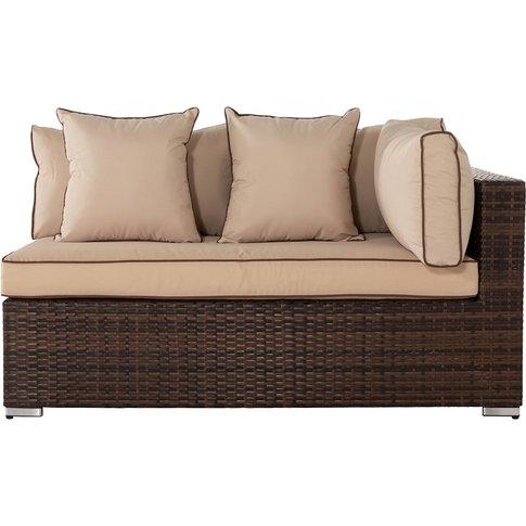Monaco Left As You Sit Rattan Garden Sofa In Brown -...