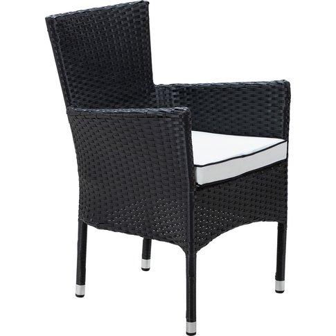 Stackable Rattan Garden Chair In Black & White - Cam...