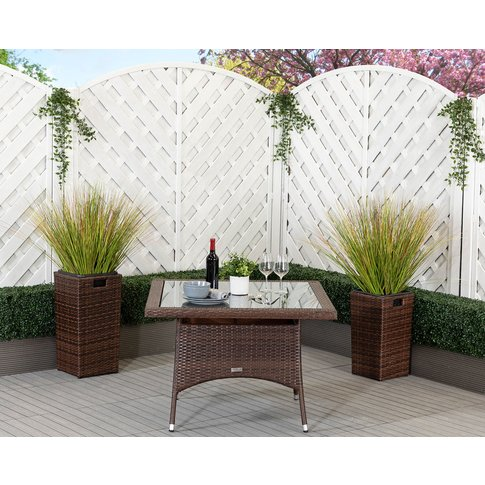 Square Rattan Garden Dining Table In Brown