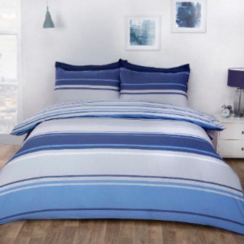 Richmond Stripe Duvet Cover And Pillowcase Set - Blu...