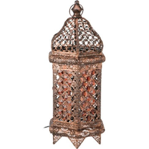 Moroccan Bronze Jewelled Table Lamp - Bronze