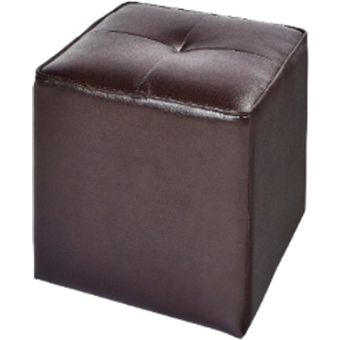 Fleur Pouffe Chocolate Leather Footstool - Chocolate