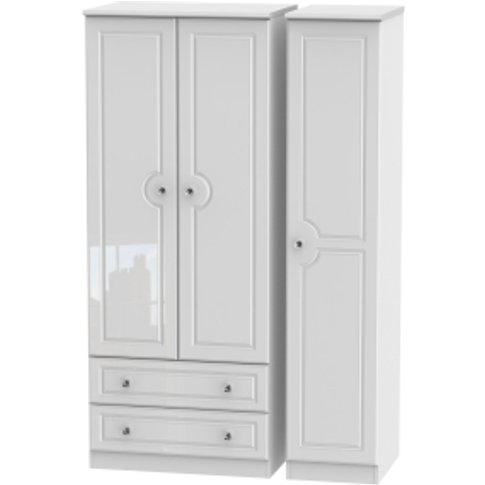 Balmoral Triple Two Drawer Wardrobe With Crystal Eff...