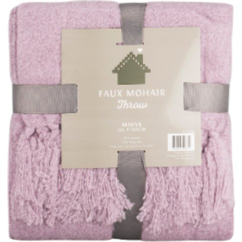 Faux Mohair Throw - Mauve