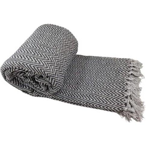 100% Cotton Silver-Charcoal Chevron Bed/Sofa Throw O...