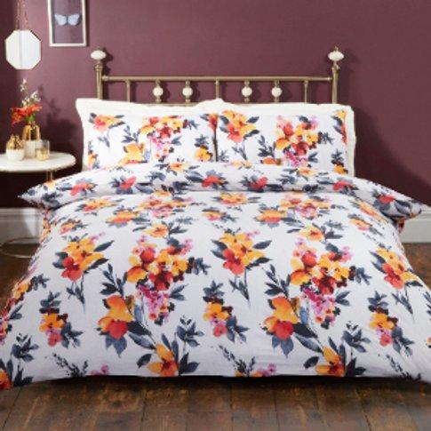 Anita Autumn Floral Printed Duvet Cover And Pillowcase Set - Double