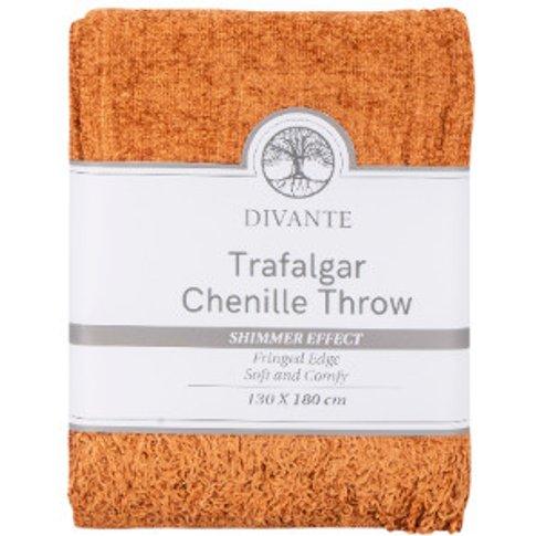 Trafalgar Chenille Throw Grey - Rust