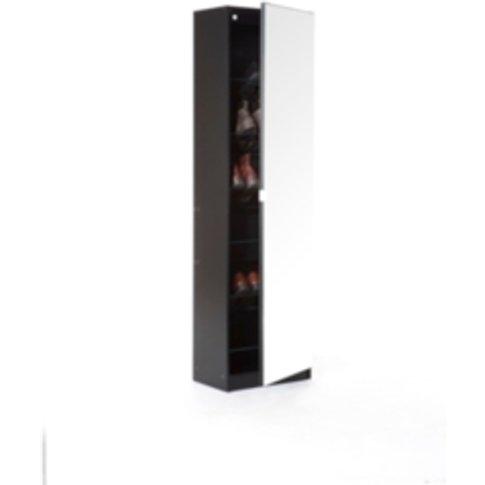 Mirrored Shoe Cabinet - Black / 150cm