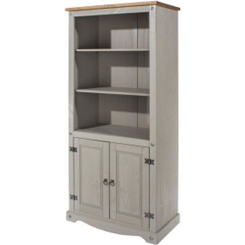 Corona Grey Washed Two Door Bookcase - Grey Wash