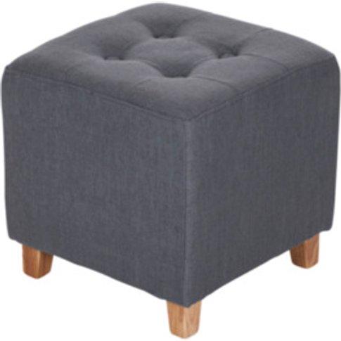 Skandi Button Footstool - Charcoal