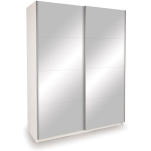 Dallas Mirror Sliding Wardrobe - White / Double Mirror