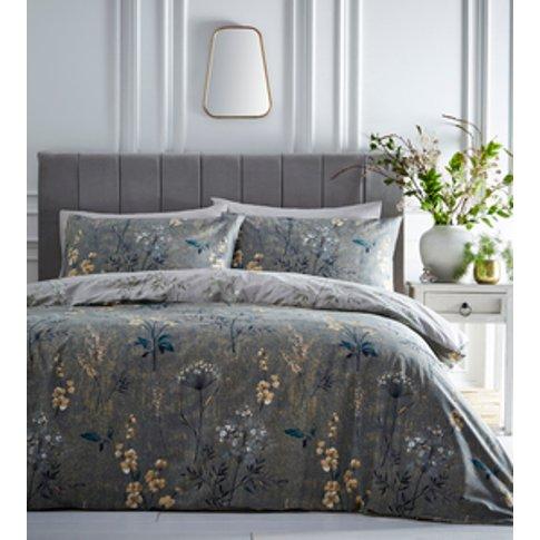 Florette Duvet Cover And Pillowcase Set - Green/Ochr...