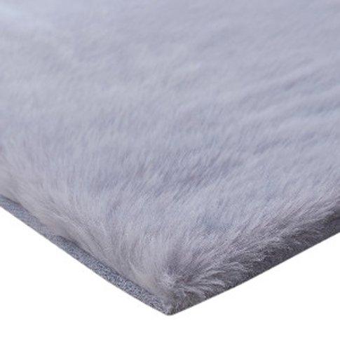 Faux Fox Fur Rug - Silver
