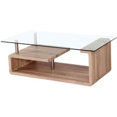 Curva Glass Coffee Table - Sonoma Oak