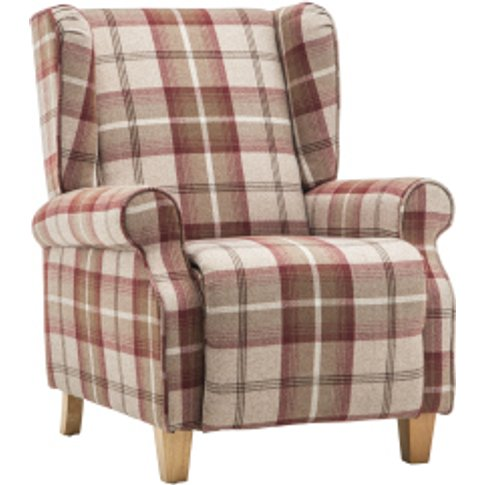 Calgary Check Recline Armchair - Red