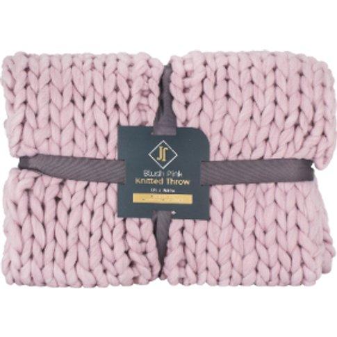 Blush Pink Knitted Throw - Blush Pink