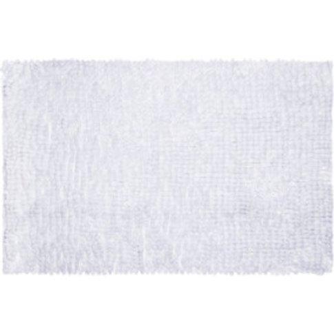 Lux Sparkle Chenille Bath Mat - White
