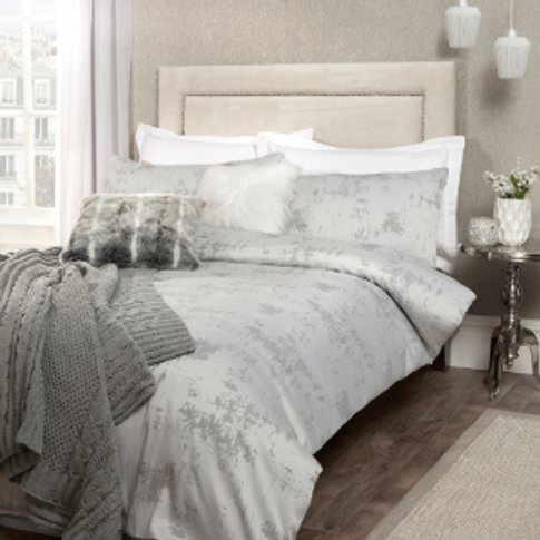 Ruth Jacquard Silver Duvet Cover And Pillowcase Set ...