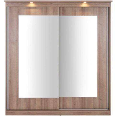 Riviera Large Mirror Wardrobe with Lights - Medium Oak