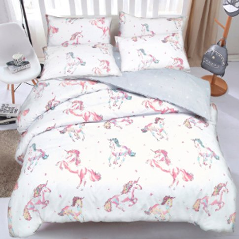 Unicorn Printed Duvet Cover And Pillowcase Set - Single