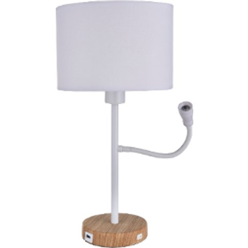 Table Lamp with USB Port - White